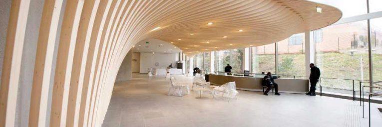 Glulam sctructure Paris Law School Wood interior design Simonin