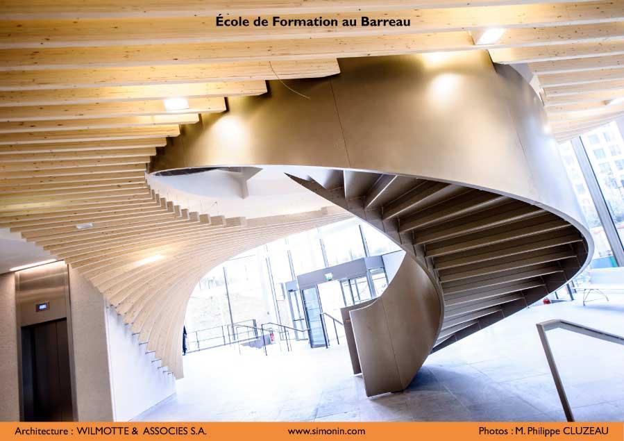 glulam sctructure paris law school wood interior design simonin. Black Bedroom Furniture Sets. Home Design Ideas