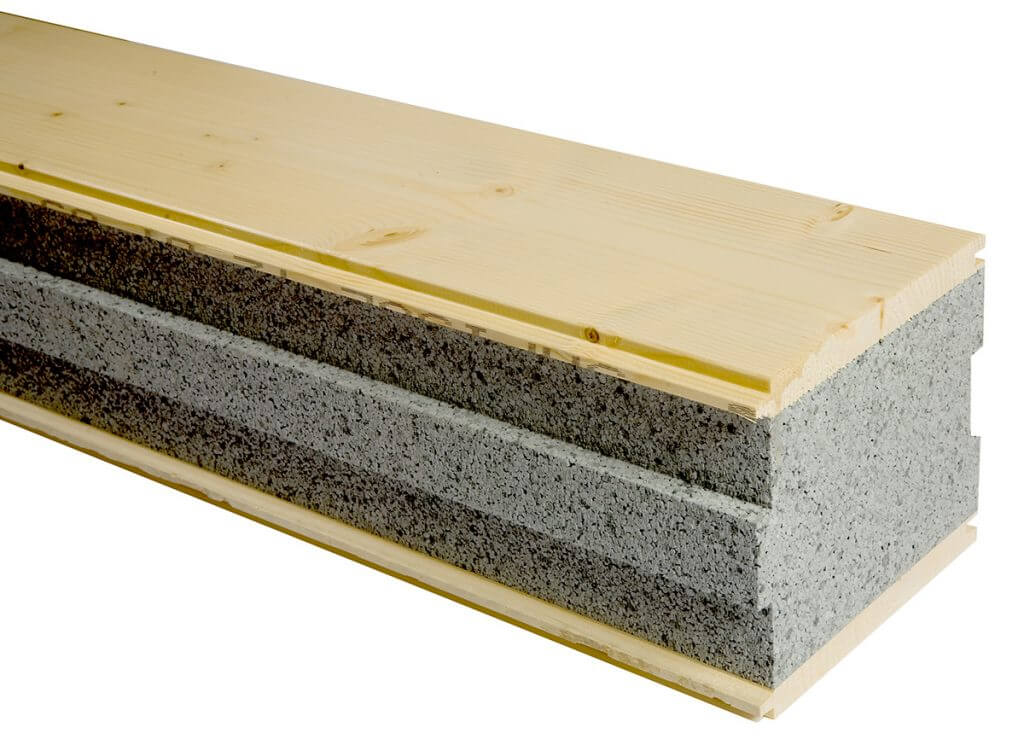 Insulated wood sandwich panel, Sapisol soundproofing