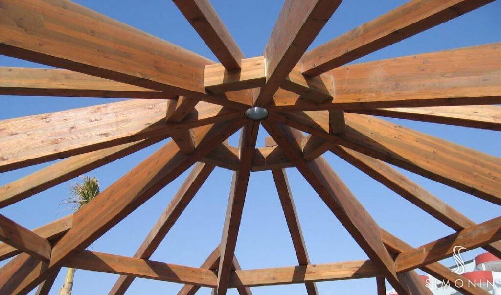 Pavilion wood structure, Glulam pergola construction | Simonin